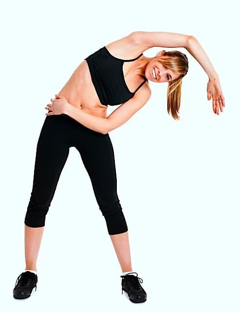 Stretching,Beugung,seitlich,im Stehen, Kreuzschmerzen