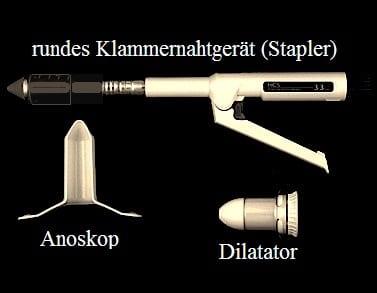 Dilatator, Anoskop, rundes Klammernahtgerät (Stapler)